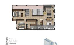 Departamento en Venta- Frontera 137 - Col Roma CDMX- Tipo de Depto A 123 m